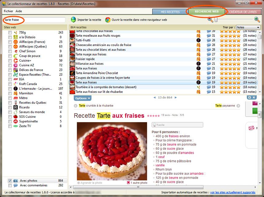 Section nouvelles logiciel le collectionneur de recettes for Logiciel gratuit pour cuisine